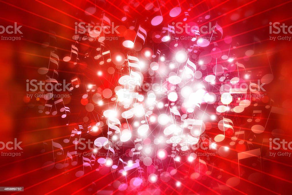 Club di musica e suono sfondo rosso con luci e note immagini