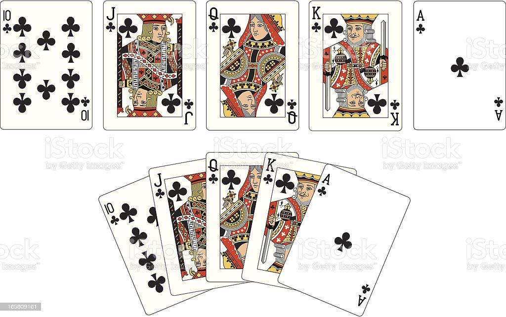 Club Suit Two Royal Flush playing cards vector art illustration
