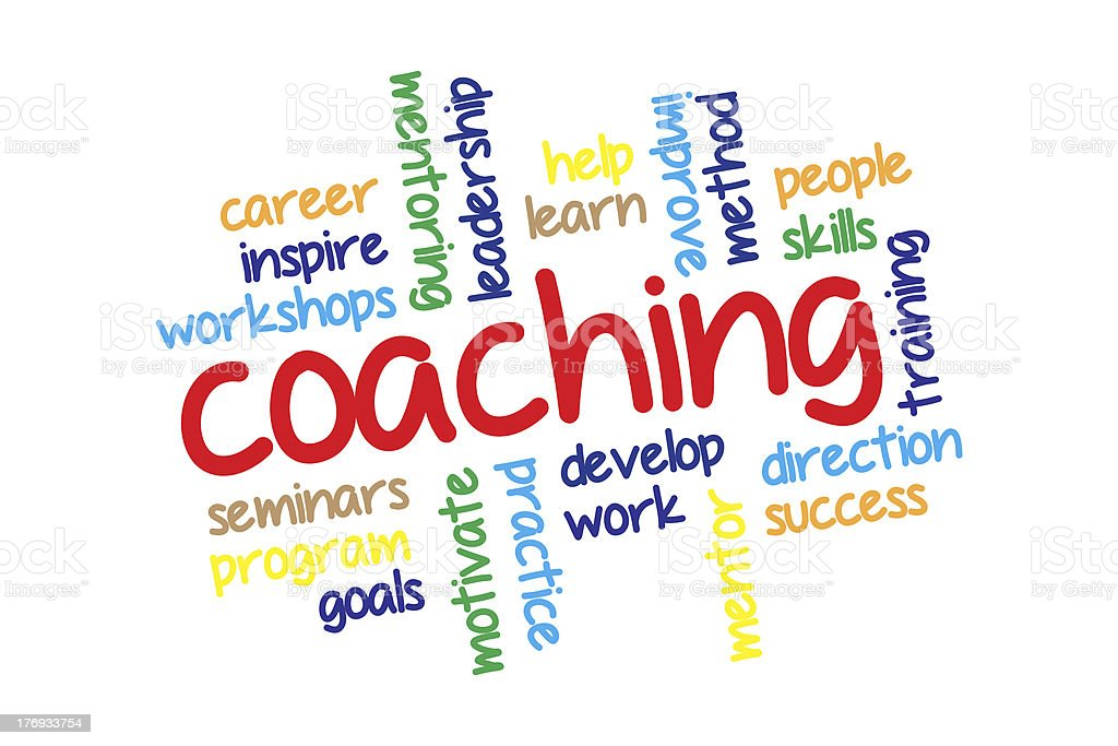 Coaching word cloud vector art illustration