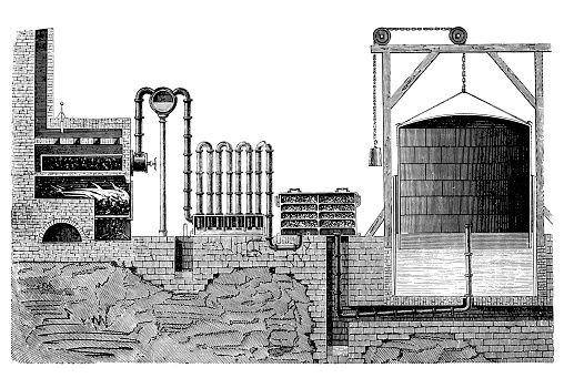 Illustration of a Coal gas production plant