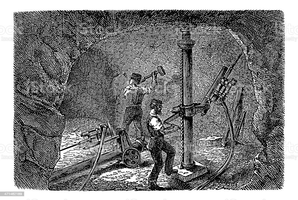 Coal Mine Workers   Antique Historic Illustrations vector art illustration