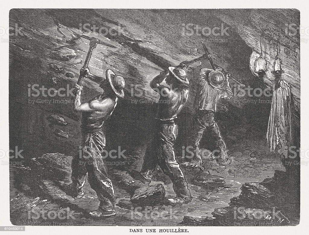 Coal miners, wood engraving, published in 1877 vector art illustration