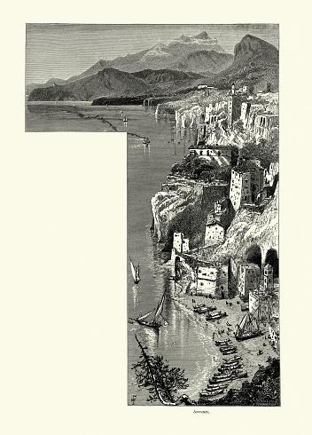 Vintage illustration of Sorrento, Naples, Italy, 19th Century