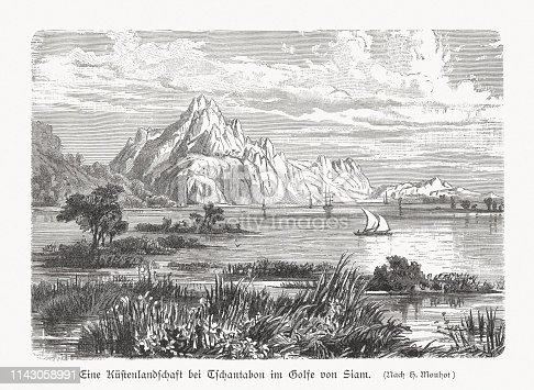 Coastal landscape near Chanthaburi in the east of Thailand. Wood engraving, published in 1897.