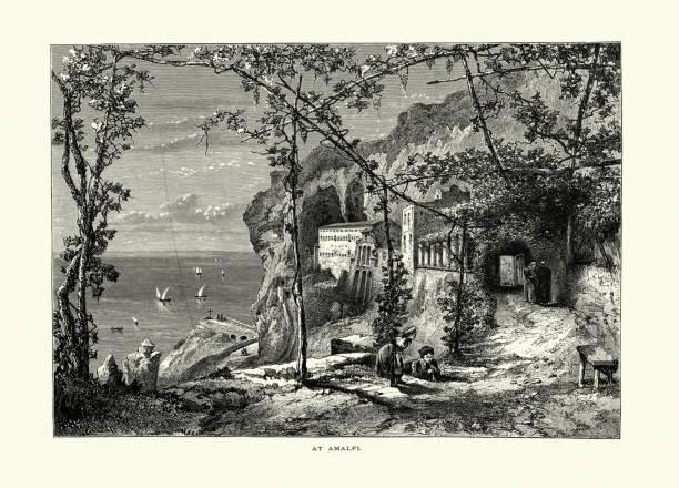 illustrazioni stock, clip art, cartoni animati e icone di tendenza di coastal view at amalfi, italy 19th century - amalfi