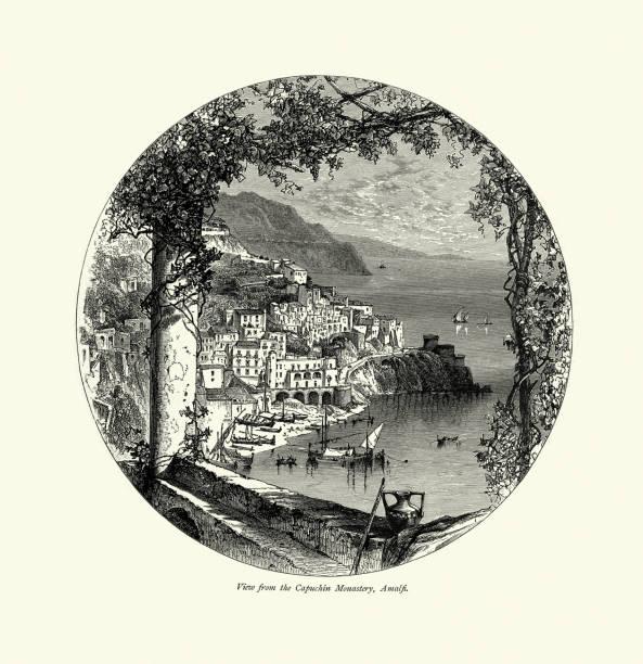 illustrazioni stock, clip art, cartoni animati e icone di tendenza di coastal view from the capuchin monastery, amalfi, italy, 19th century - amalfi