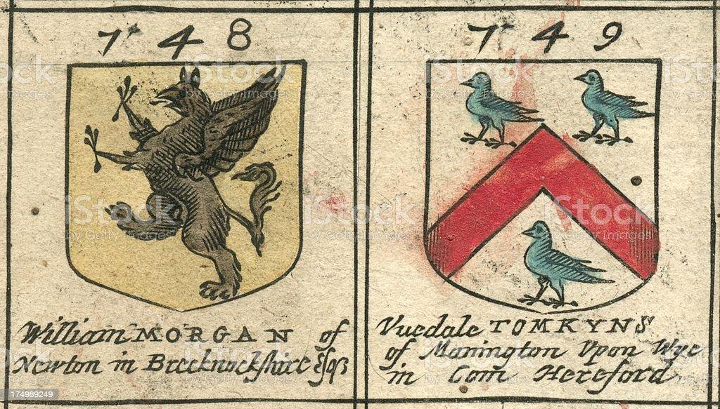Brasão de armas do século XVII, Morgan e Tomkins - ilustração de arte em vetor