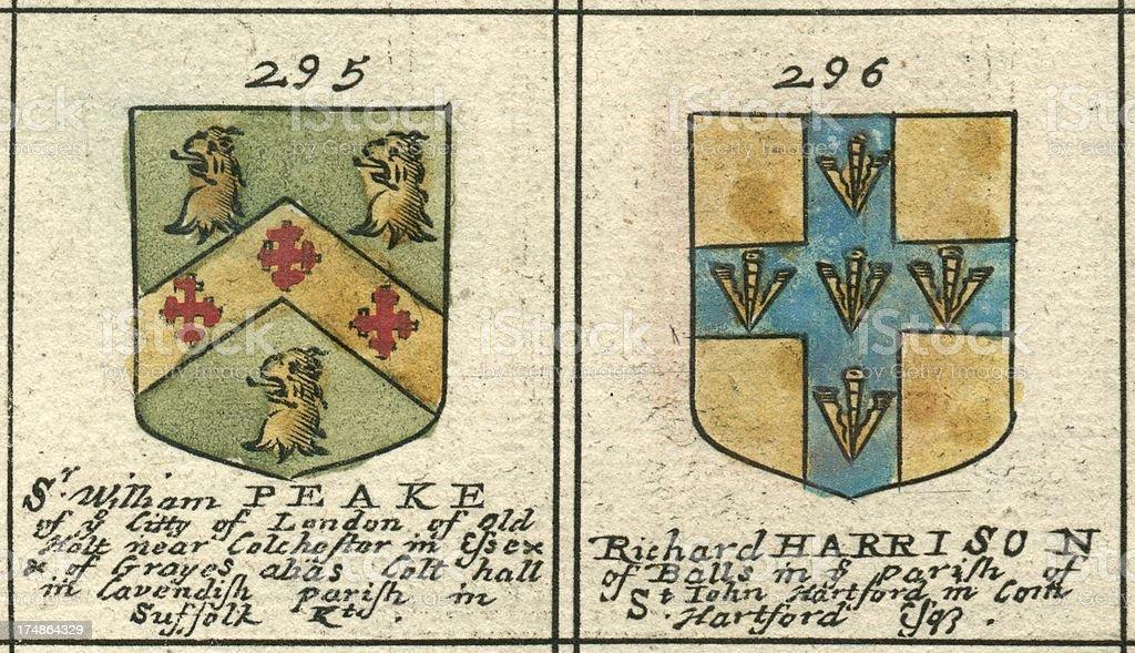 Brasão de armas do século XVII e Harrison Peake - ilustração de arte em vetor