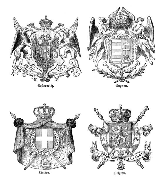Coat of arms different country Europe 1880 Coat of arms different countries in Europe : Austria - Hungary - Italy - Belgium Original edition from my own archives Source : Illustriertes Konversations Lexikon 1880 1880 stock illustrations