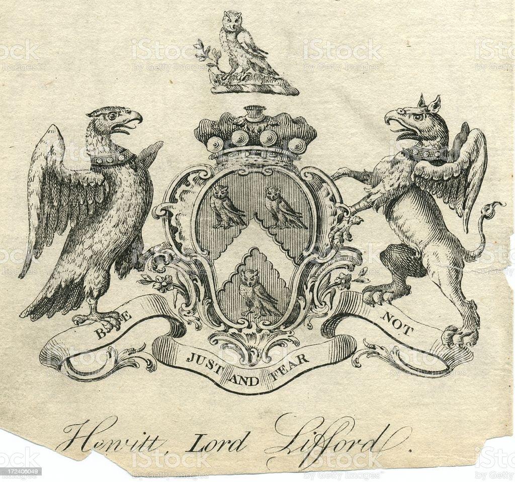 Brasão de armas Hewitt Lord Lifford do século XVIII - ilustração de arte em vetor