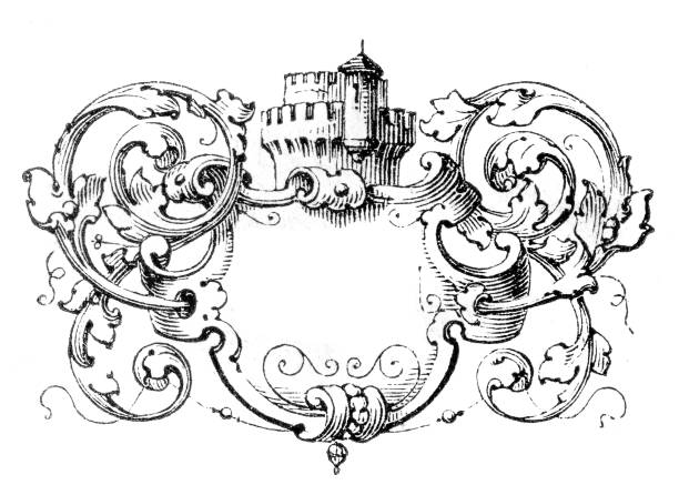 coat of arms like decoration with fictional castle tower Engraving from Agricultural textbook from 1880 about French Farm model 1880 stock illustrations
