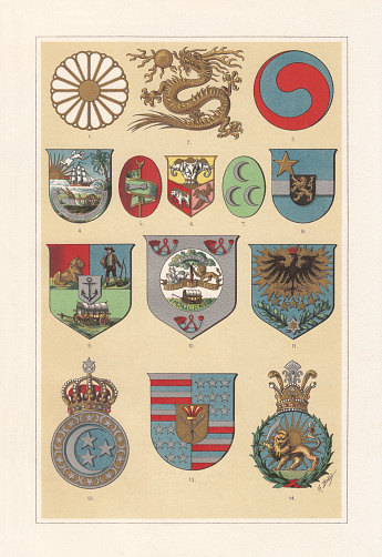 Coat of arms of African and Asian countries, chromolithograph, published 1897