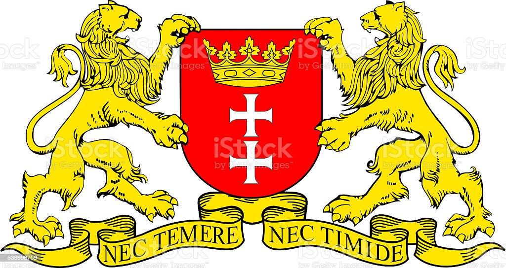 Coat of arms of Gdansk in Poland vector art illustration