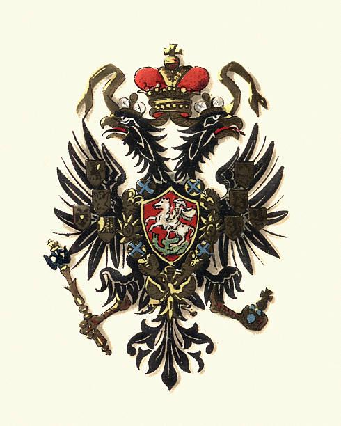 ilustraciones, imágenes clip art, dibujos animados e iconos de stock de coat of arms of russia, 1898 - rusia