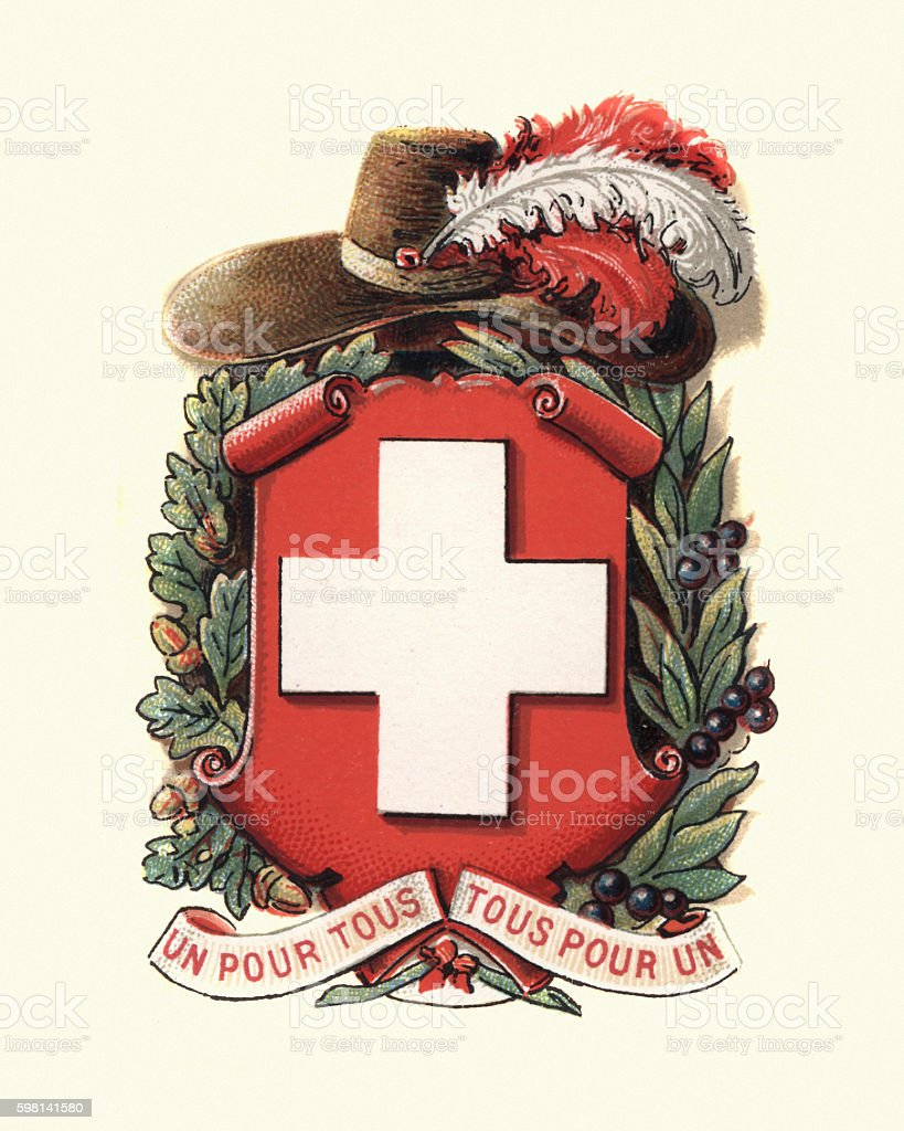 Coat of Arms of Switzerland, 1898 vector art illustration