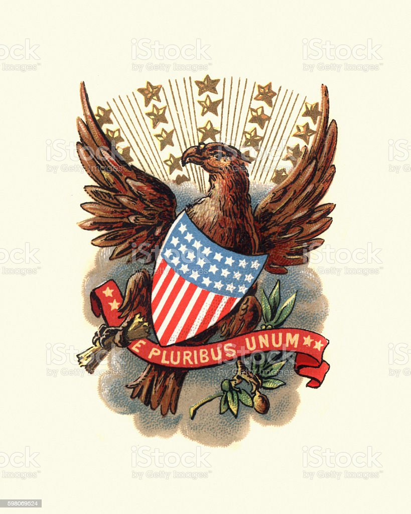 Coat of Arms of USA, 1898 vector art illustration