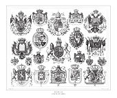 Coats of Arms Engraving Antique Illustration, Published 1851. Source: Original edition from my own archives. Copyright has expired on this artwork. Digitally restored.