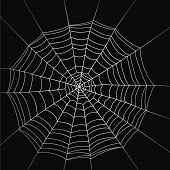 Real spooky spider webs hanging together to make a frame. Halloween background.