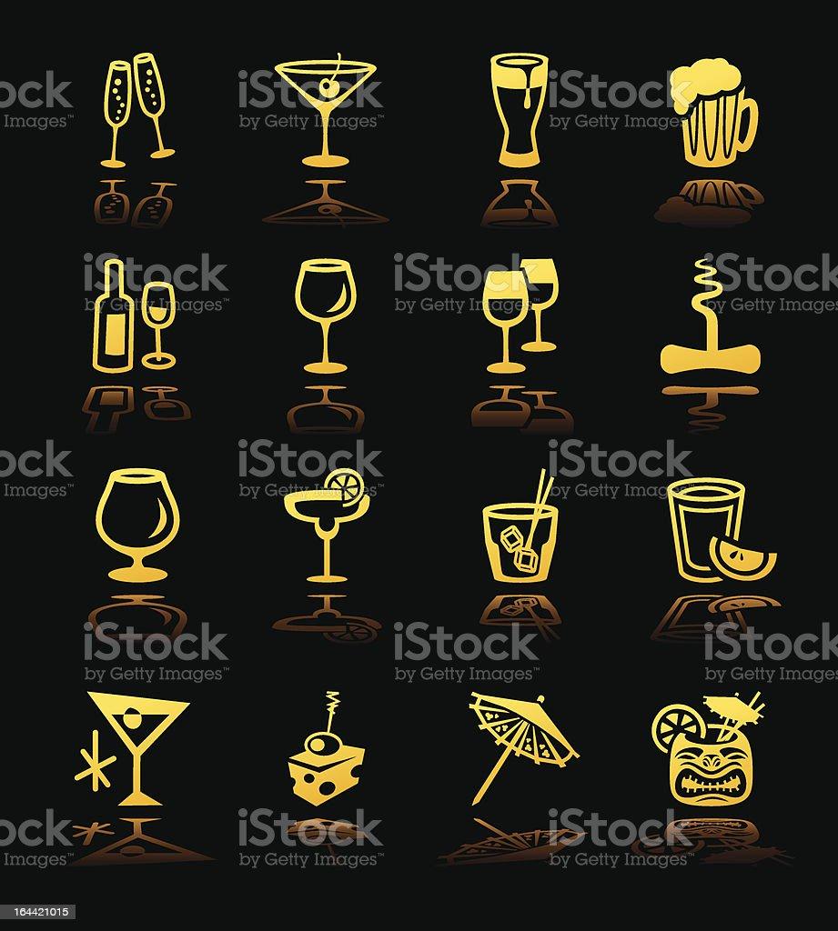 Cocktail Icons Hi Contrast vector art illustration