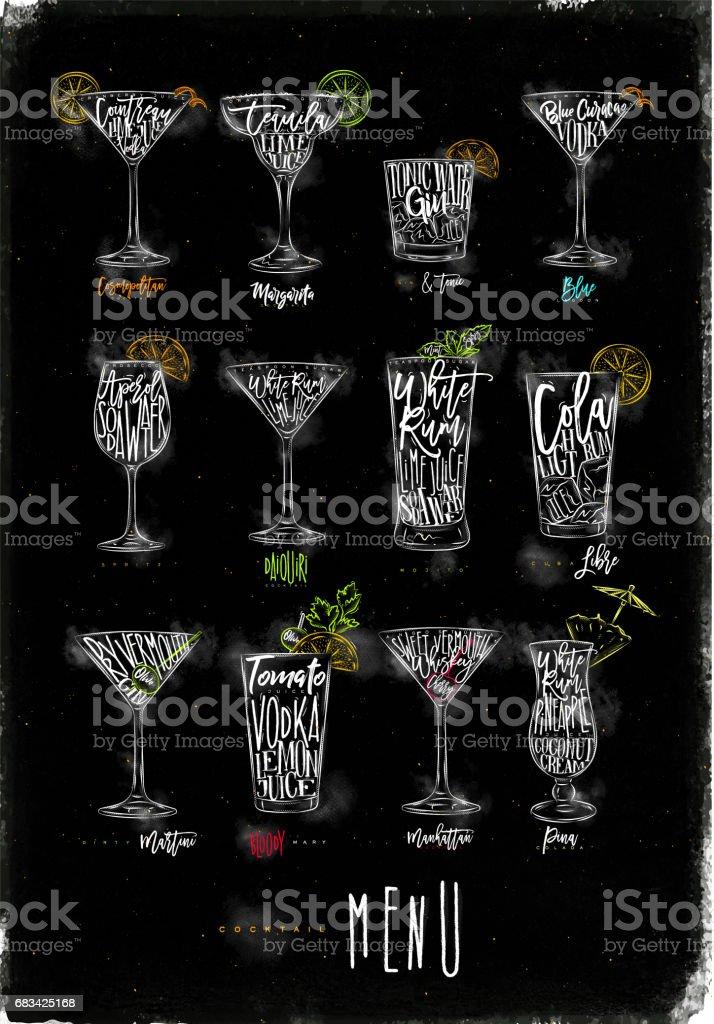 Cocktail menu color graphic chalk vector art illustration