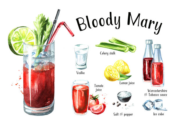 cocktail with alcohol bloody mary ingredients set. watercolor hand drawn illustration  isolated on white background - vegetable blood stock illustrations, clip art, cartoons, & icons
