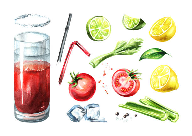 cocktail with alcohol bloody mary set. watercolor hand drawn illustration  isolated on white background - vegetable blood stock illustrations, clip art, cartoons, & icons