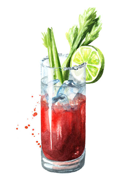 cocktail with alcohol bloody mary with celery. watercolor hand drawn illustration,  isolated on white background - vegetable blood stock illustrations, clip art, cartoons, & icons