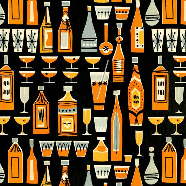 cocktails and liquor bottle pattern - alcohol drink patterns stock illustrations