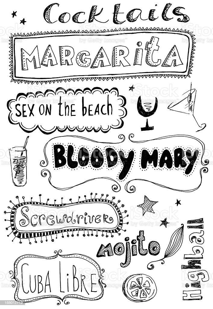 Cocktails doodles vector art illustration