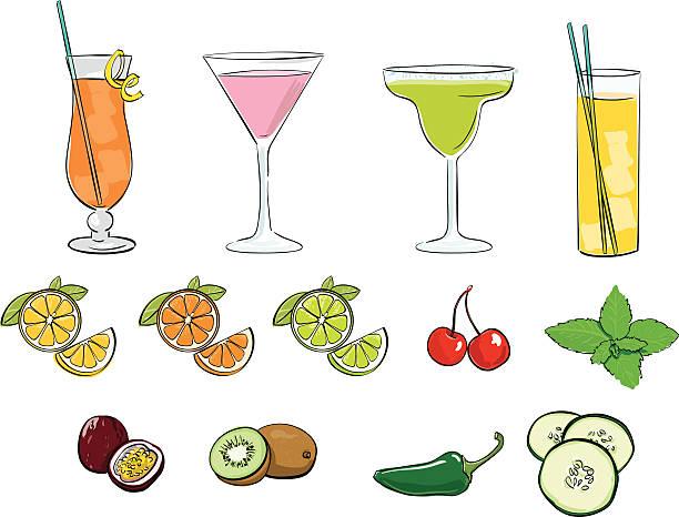 illustrazioni stock, clip art, cartoni animati e icone di tendenza di cocktail - illustrazioni di passiflora