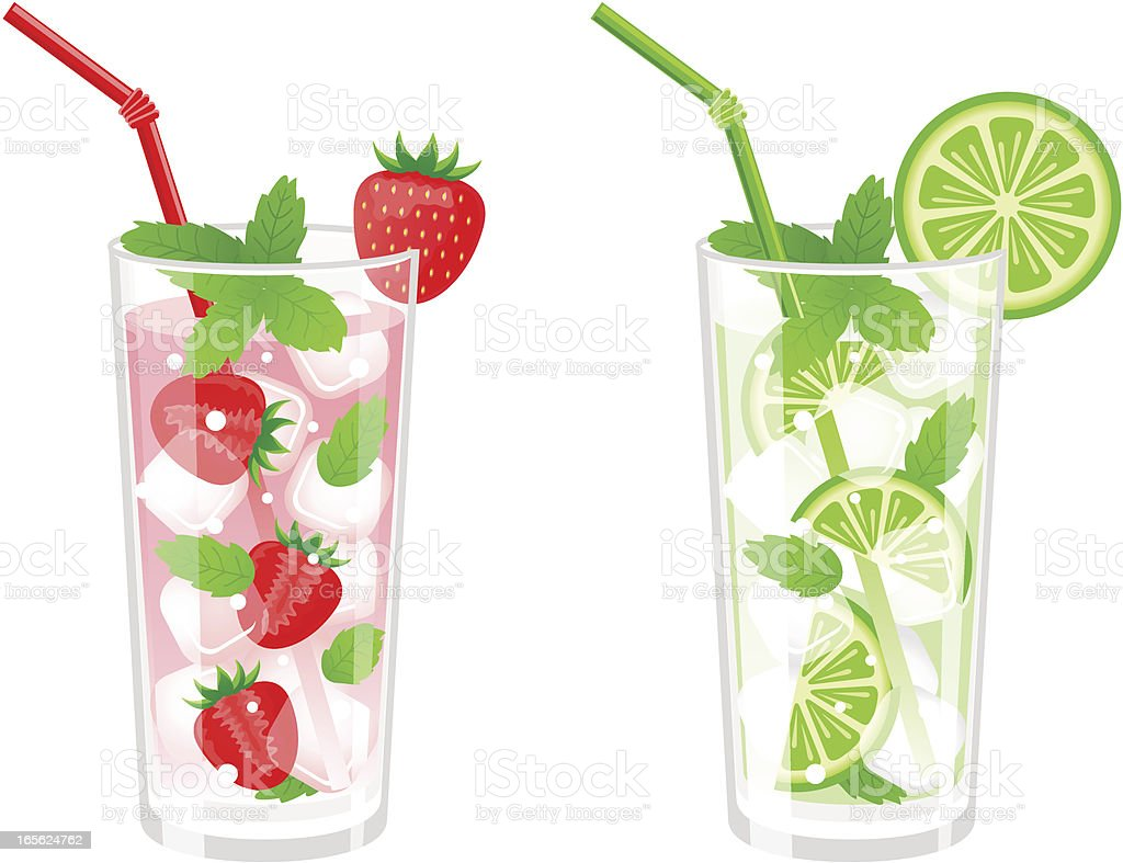 Cocktails Mojito vector art illustration