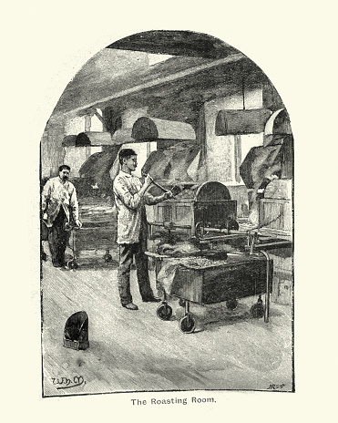 Cocoa Roasting Room at Fry's Chocolate factory, 1894