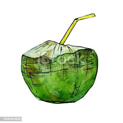 istock Coconut juice hand drawn watercolor clip art 1308464905