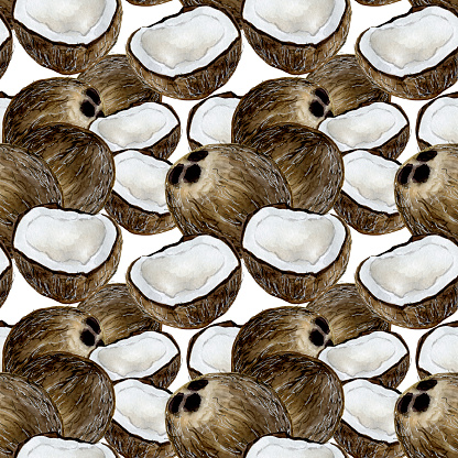 Coconut on white watercolor seamless pattern design