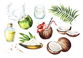 istock Coconut set. Watercolor hand drawn illustration,  isolated on white background 950139018