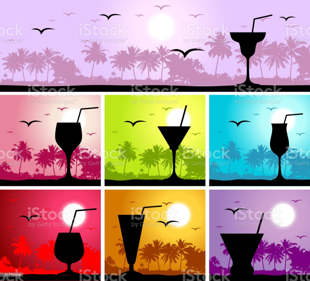 Coctail party on the beach royalty-free stock vector art