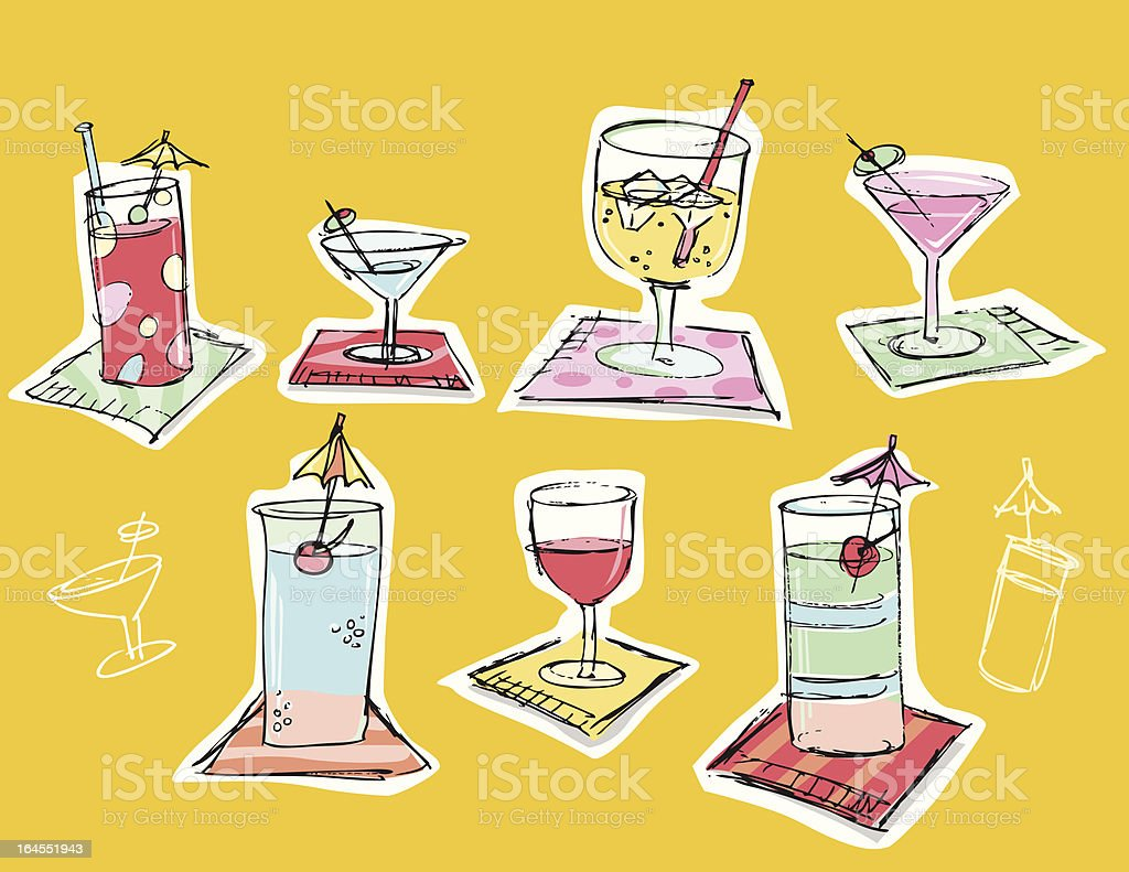 Coctails drawings on napkins royalty-free stock vector art