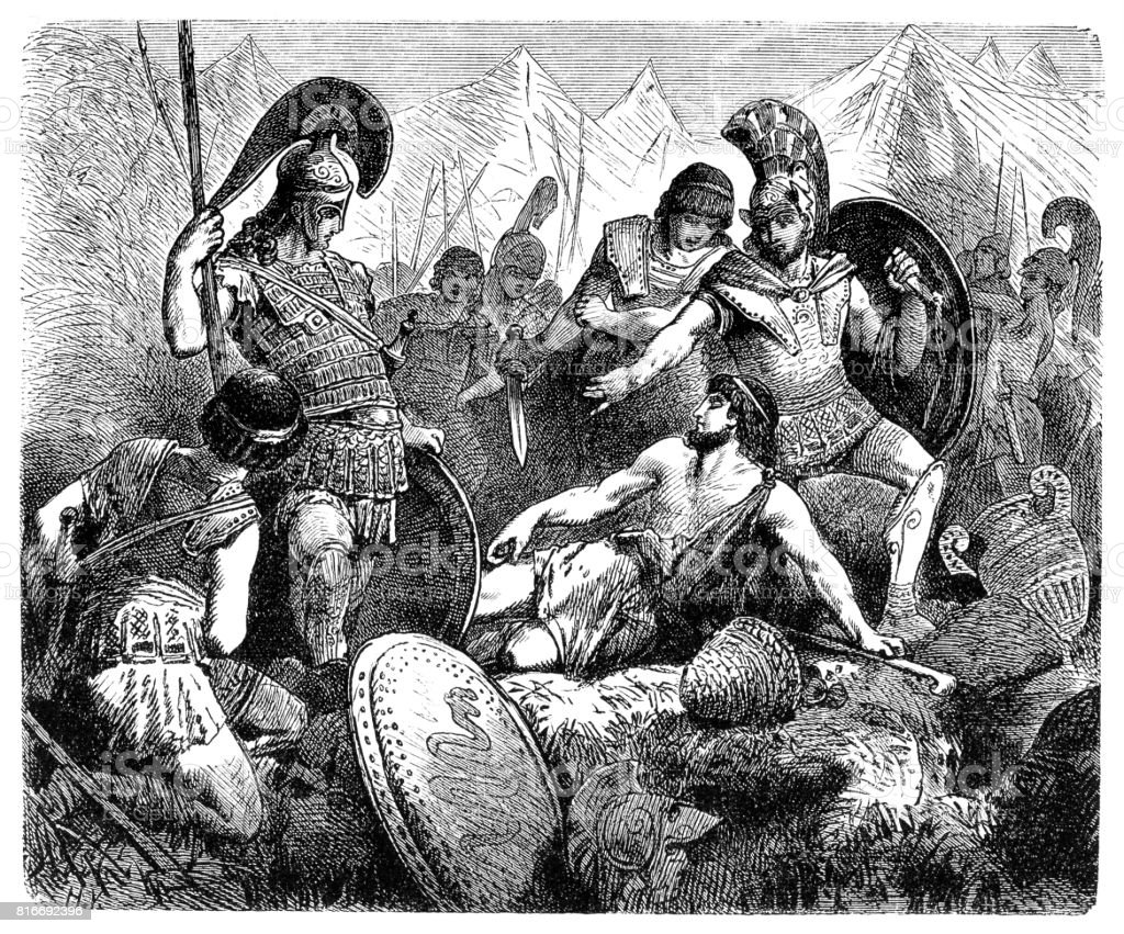 Codrus of Athens dies during battle with Dorians vector art illustration