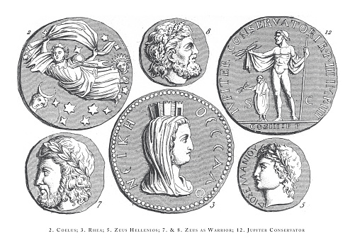 Coelus, Rhea, Zeus Hellenios, Zeus as Warrior, Jupiter Conservator, Legendary Scenes and Figures from Greek and Roman Mythology Engraving Antique Illustration, Published 1851