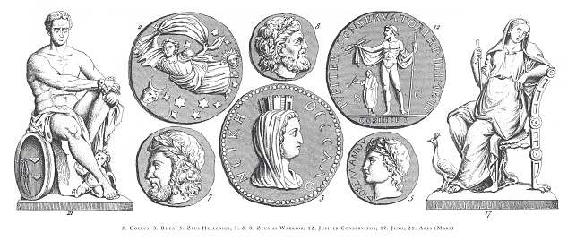 Coelus, Rhea, Zeus Hellenios, Zeus as Warrior, Jupiter Conservator, Juno, Ares (Mars), Legendary Scenes and Figures from Greek and Roman Mythology Engraving Antique Illustration, Published 1851