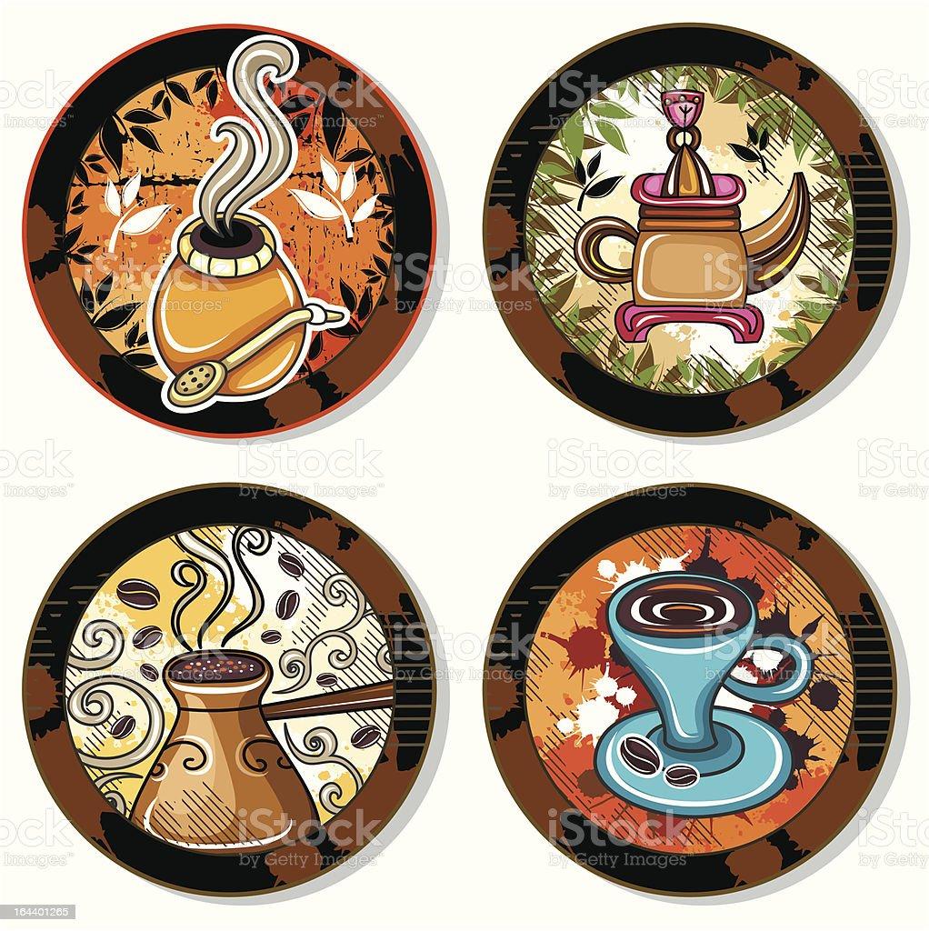 Coffe, tea, yerba mate, drink coasters 4 royalty-free stock vector art