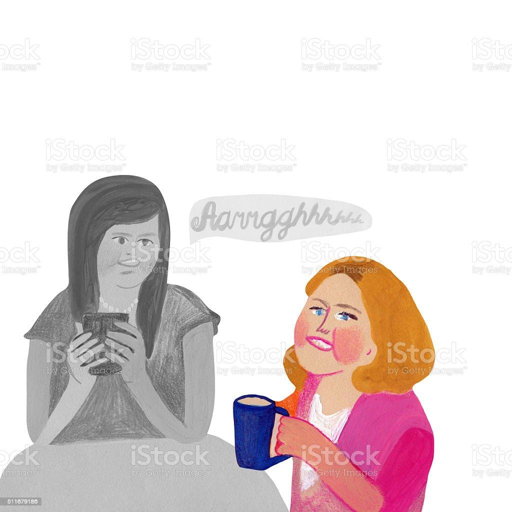 Coffee brake and gossip vector art illustration