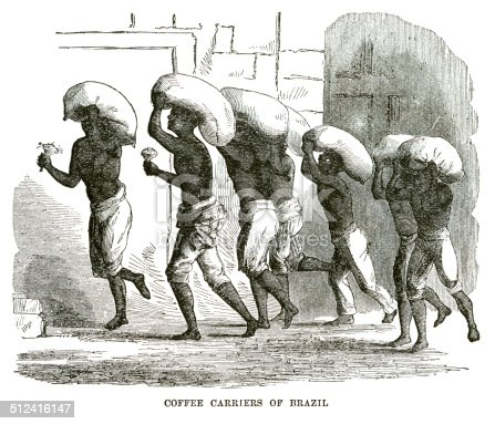 Coffee carriers of Brazil engraving