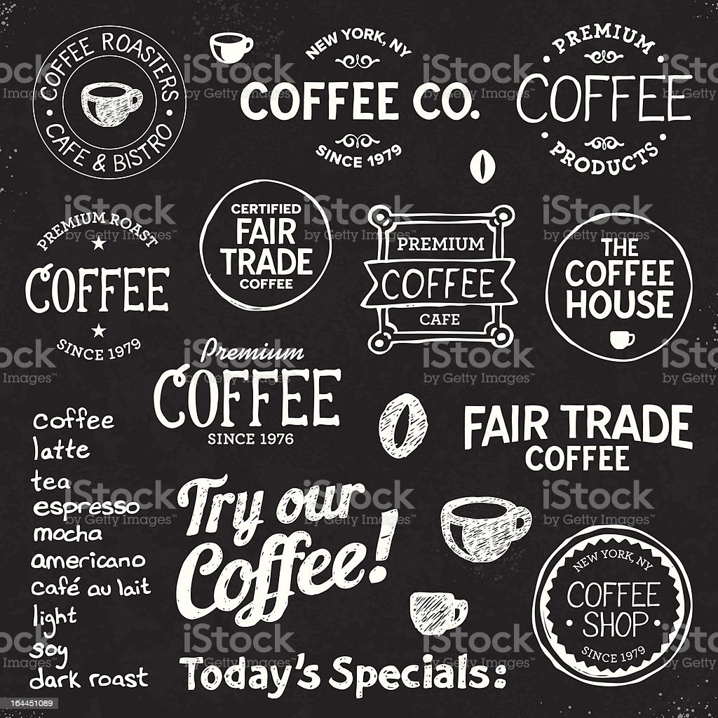Coffee chalkboard text and symbols royalty-free stock vector art