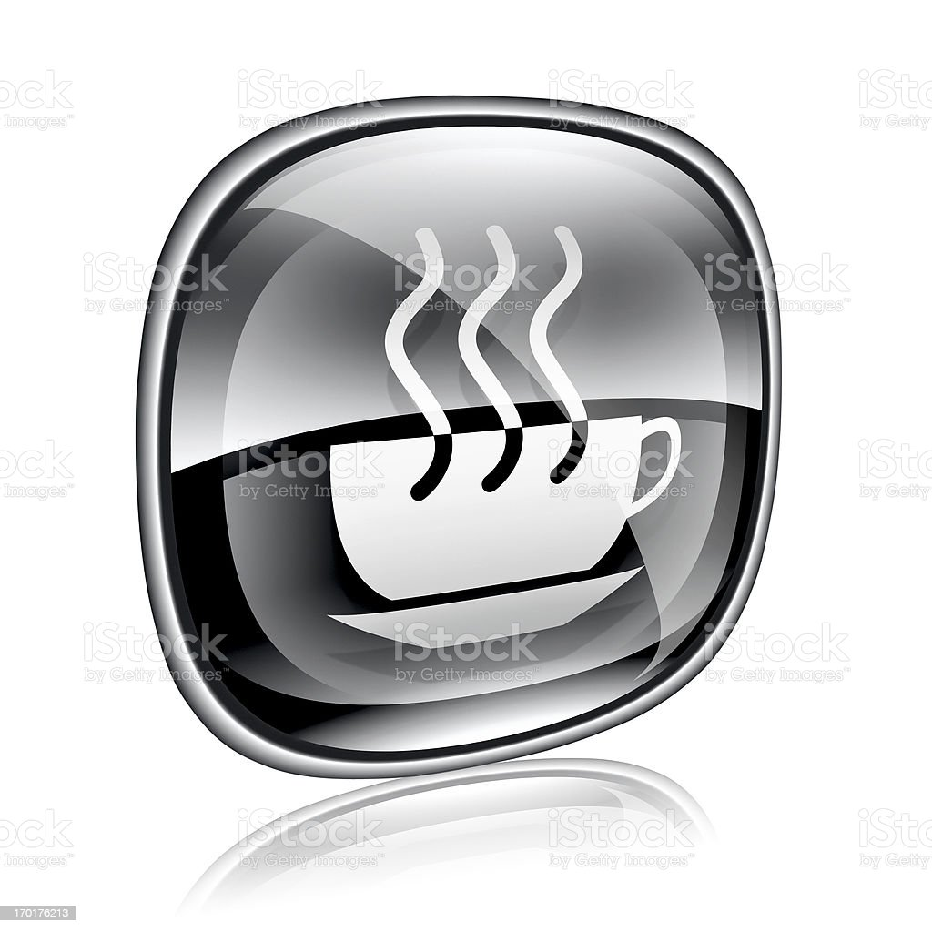 coffee cup icon black glass, isolated on white background. royalty-free stock vector art
