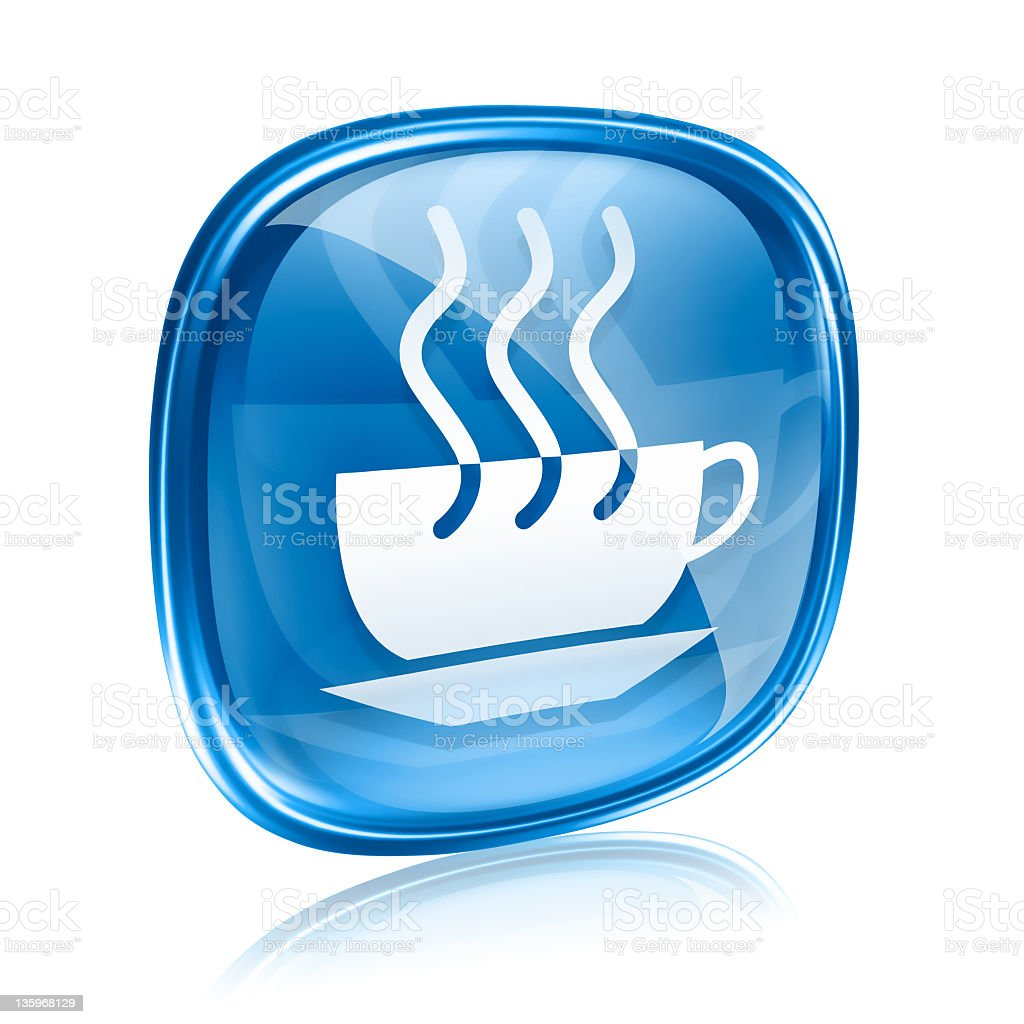coffee cup icon blue glass, isolated on white background. royalty-free stock vector art