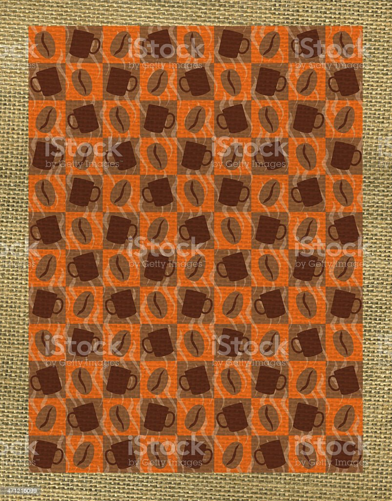 Coffee Cup of Joe Bean on Burlap Background royalty-free stock vector art
