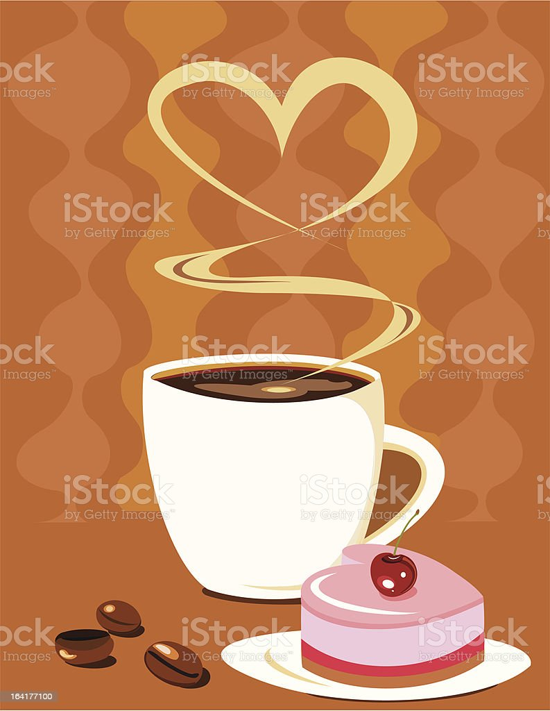 Coffee cup with heart shape cake royalty-free stock vector art
