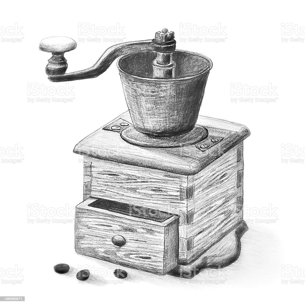 Coffee Grinder Pencil Drawing vector art illustration