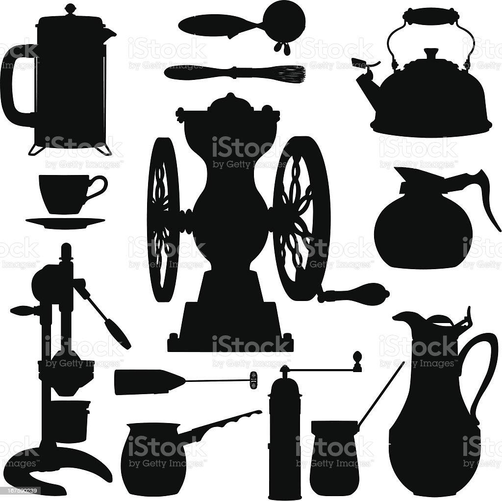 Coffee Making kitchen tool silhouettes vector art illustration